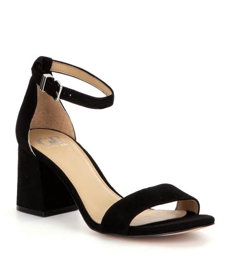 Black Sandals Heels gb block suede banded ankle block heel dress