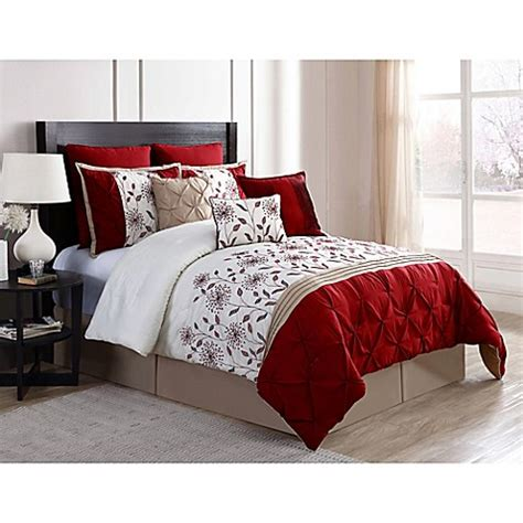 bedding stores online vcny prairie 9 piece comforter set in red ivory bed bath