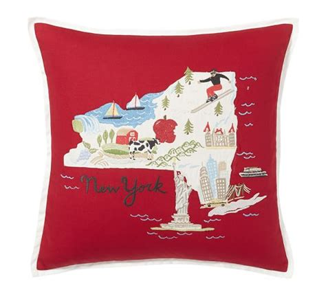 New York Embroidered Pillow by New York Embroidered Pillow Cover Pottery Barn