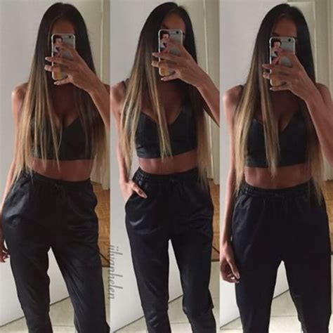 straight hair with outfits pants black leather crop tops bralette straight hair