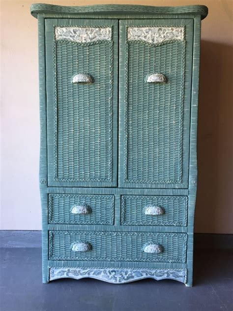 wicker armoire hand painted pier one wicker armoire cabinet storage