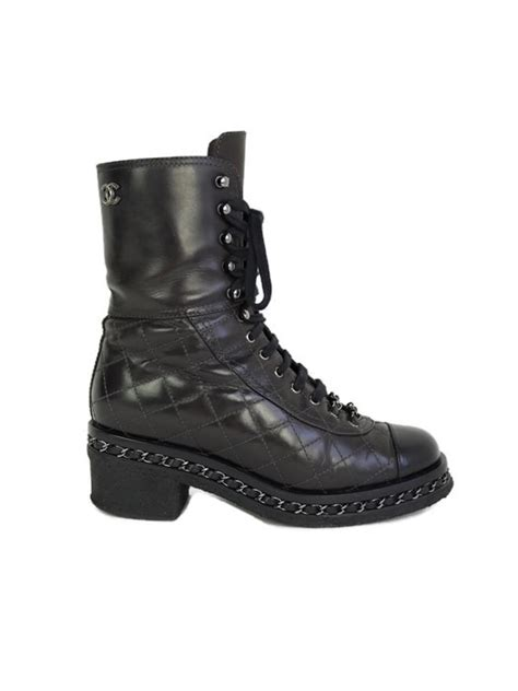 Chanel Quilted Biker Boots by Ankle Boots Chanel Quilted Biker Size 37 Vintage United