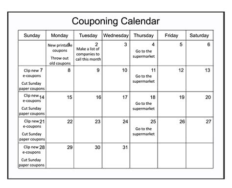 Calendar Coupons The Kosher Coupon 187 Couponing Calendar