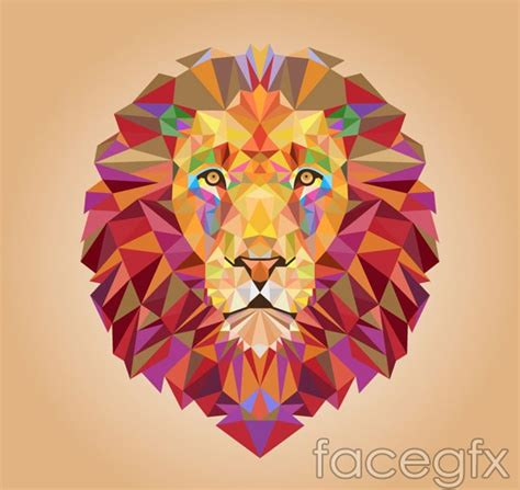 Lion?s head geometry vector   Free download