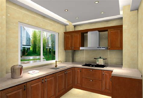 3d interior design kitchen with solid cabinets