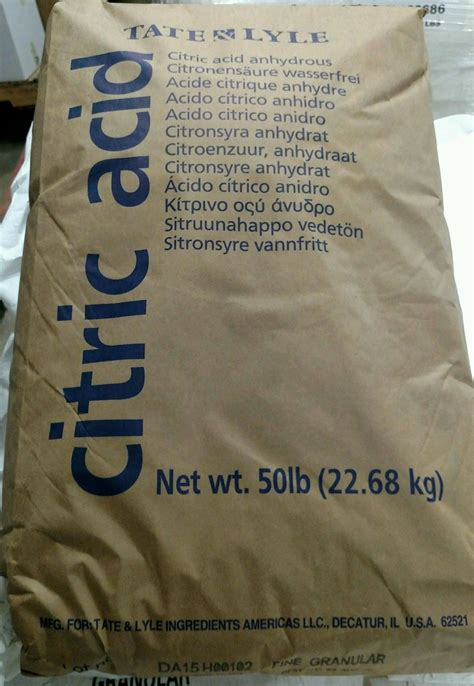 food 50 lb bag 50 lb bag of food grade citric acid 100 made in usa fcc usp granular