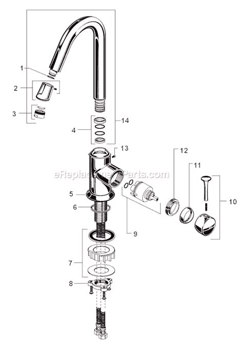 american standard kitchen faucet parts american standard 4332 001 parts list and diagram ereplacementparts