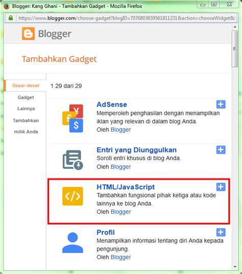 cara memasang kode javascript memasang widget di blog cara memasang widget komentar terbaru di blogger