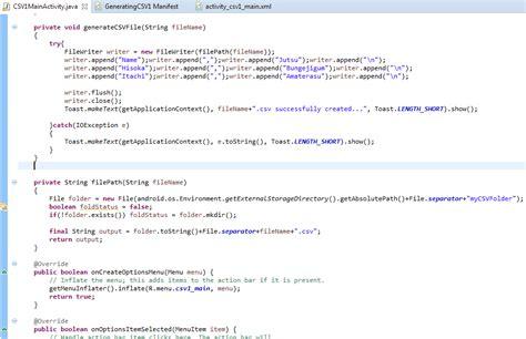 membuat file xml di android dimensi tutupbotol membuat file csv generator di android