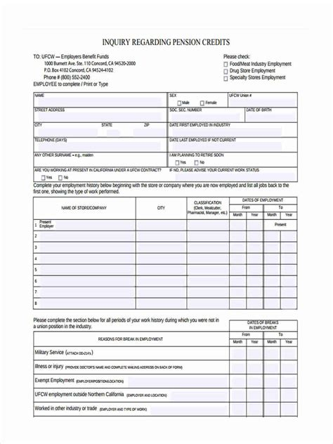 Credit Pension Form 7 sle credit inquiry forms free documents in word pdf
