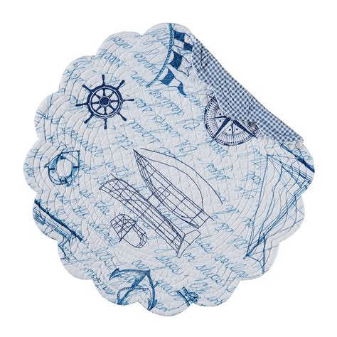 round sailboat fair winds sailing sailboat round quilted placemat 17 quot c f