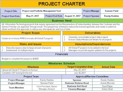 project charter template ppt free download free project