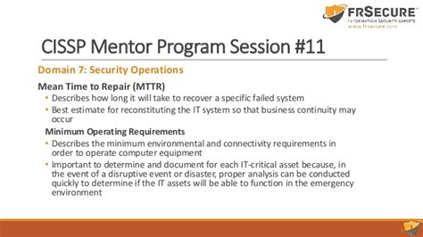 Csuci Mba Requirements by Slide Deck Class Session 11 Frsecure Cissp Mentor Program