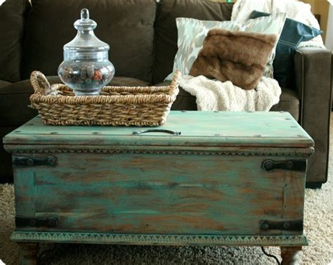 Pottery Barn Trunk Coffee Table Aqua Painted Trunk Coffee Table