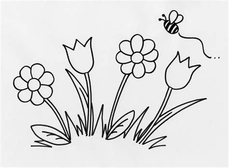 easy coloring pages of flowers simple flower outline coloring home