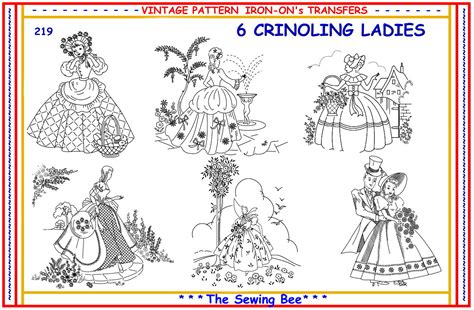 embroidery design transfer 219 6 crinoline lady ladies embroidery iron on