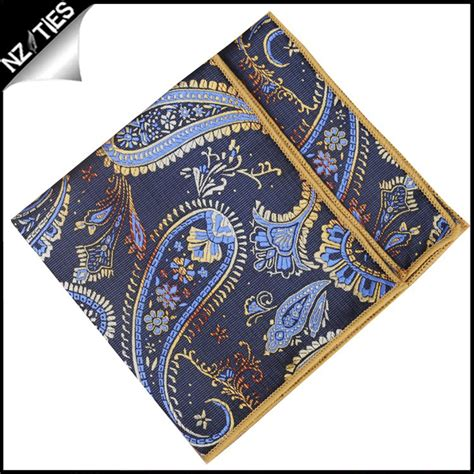 gold pattern pocket square mens navy and gold paisley pocket square handkerchief nz ties