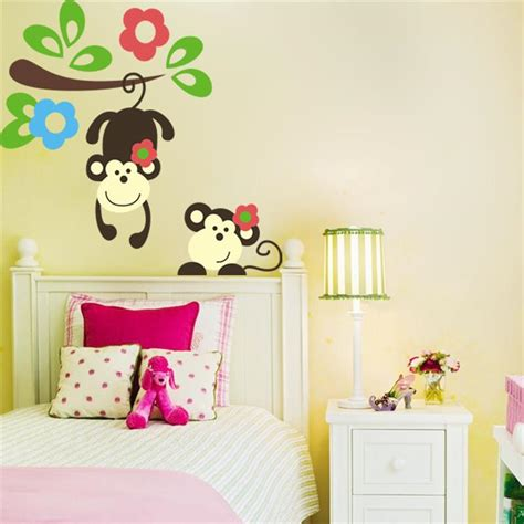 childrens bedroom decoration stickers kawaii monkey hang tree wall stickers kids bedroom