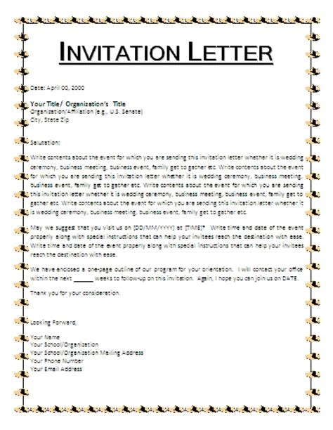 Invitation Letter Writing Exles Invitation Letter To Usa Reglementdifferend