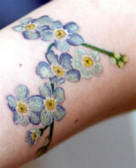 watercolor tattoos auckland colour realism forget me not by melou