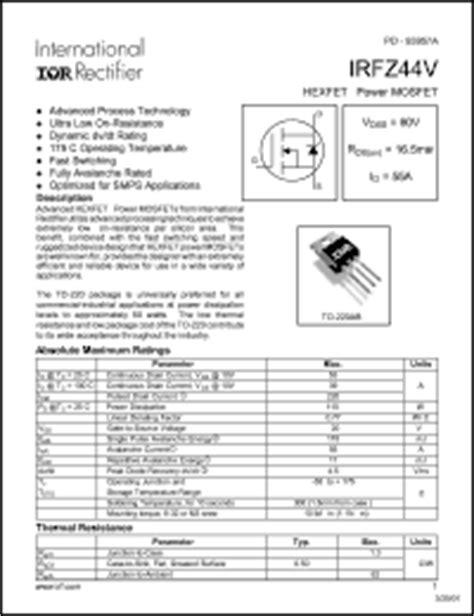 transistor irfz44 pdf international rectifier irfz44 series datasheets irfz44nstrr irfz44el irfz44r irfz44es