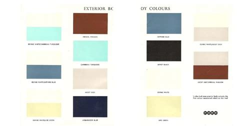 colour chart 1961 ford classic owners club