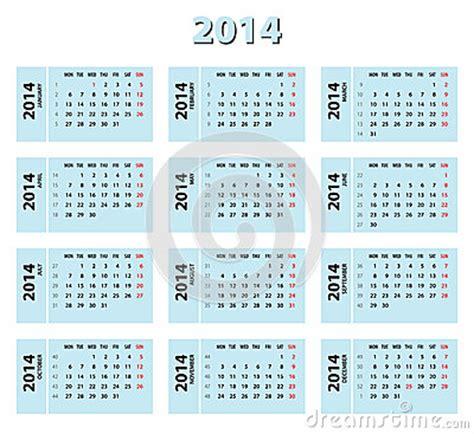 Calendario X Semanas 2014 Calendario De 2014 Azules Fotos De Archivo Libres De