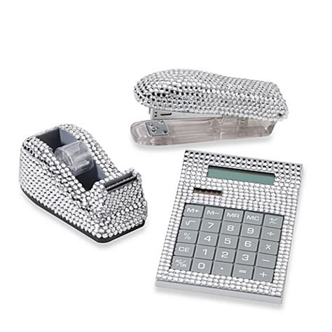 Bling Desk Accessories Rhinestone Desk Set In Silver Bed Bath Beyond