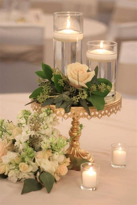 Simple low wedding reception centerpiece white and green