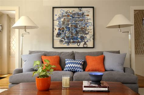 grey blue orange living room blue and grey artwork living room transitional with oversized artwork gray sofa gray sofa