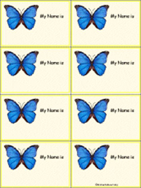 printable butterfly name tags animal name tags to print enchantedlearning com
