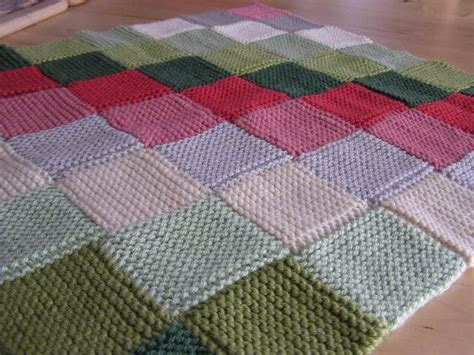 knitting pattern squares garter stitch squares alternating knitted blanket