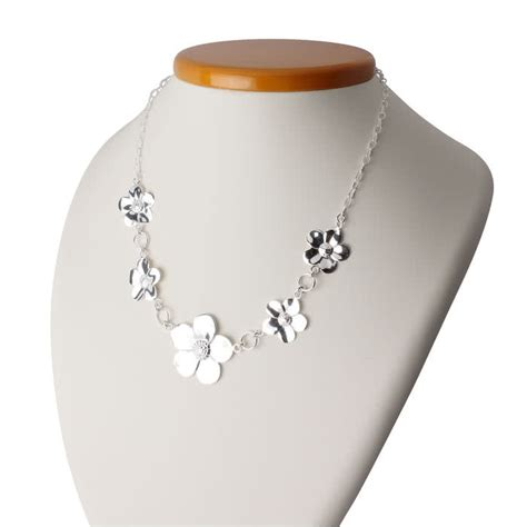 sterling silver lightweight large flower necklace