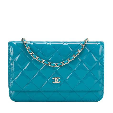 Sale Tas Wanita Lv Classic Woc chanel turquoise classic quilted patent wallet on chain woc world s best