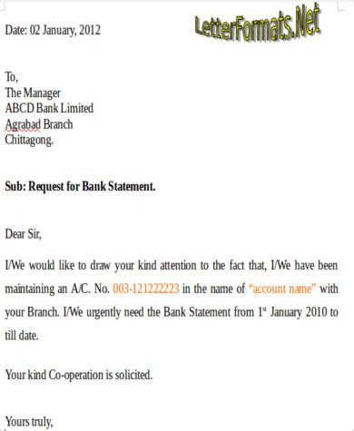 application letter bank statement bank application sle 6 exles in word pdf