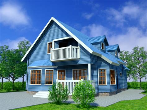home blue blue house 3d model