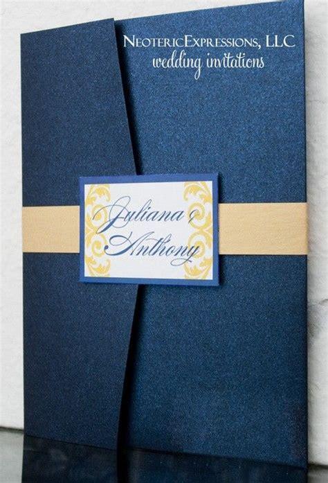navy blue and yellow wedding invitation pocketfold wedding yellow wedding invitations