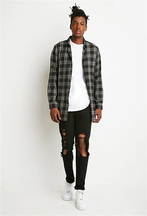 Promo Fashion White Flanel forever 21 zippered flannel shirt in black for lyst