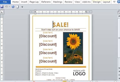 Sales Flyer Template For Word Create A Template