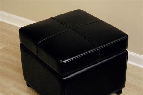 black cube ottoman black full leather square flip top storage cube ottoman