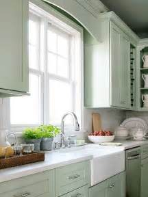 Pretty country style mint green kitchen with pale mint green cabinets