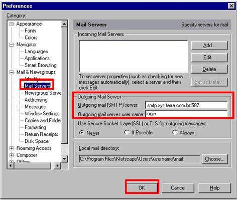 porta smtp como alterar a porta smtp de 25 para 587 no netscape 4 5