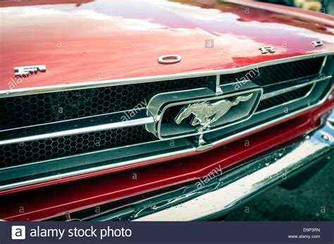 Classic Ford Mustang Grille Emblems Parts For 1965 1966 1967 1968 1969 1970 1971 1972 1973 Ford Logo And Mustang Emblem On The Front Grille Of A 1965 Stock Photo 57648969 Alamy