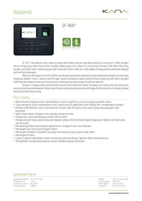 Absensi Sidik Jari Fingersport Kana Sf 800 mesin absensi dan akses kontrol deteksi sidik jari kartu
