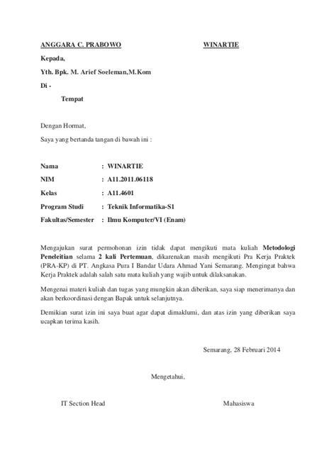Surat Ijin Tidak Masuk Kerja by Contoh Surat Tidak Masuk Kerja Karena Izin Kotasurat