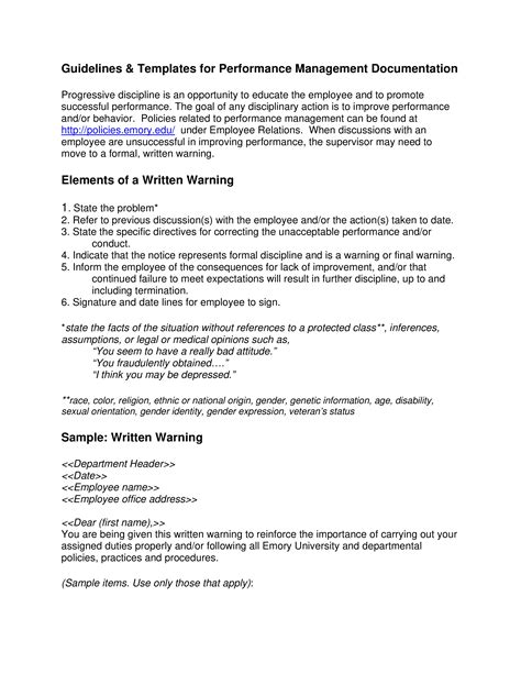 performance warning letter employee templates
