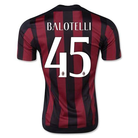 Jersey Ac Milan Home 16 ac milan 2015 16 balotelli 45 home soccer jersey ac milan
