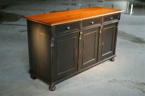 custom made black kitchen island from reclaimed pine