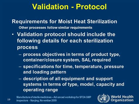 required pattern validation sterilization validation qualification requirements