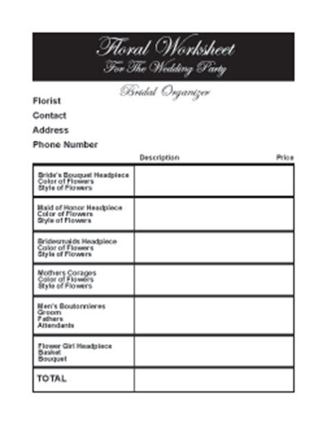 printable wedding flowers worksheet wedding flowers wedding flowers consultation forms